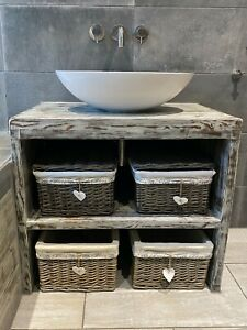 details about rustic bathroom sink vanity unit handmade from solid wood