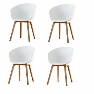 details sur lot de 4 chaise fauteuil chaise de salle a manger moderne cuisine bar blanc