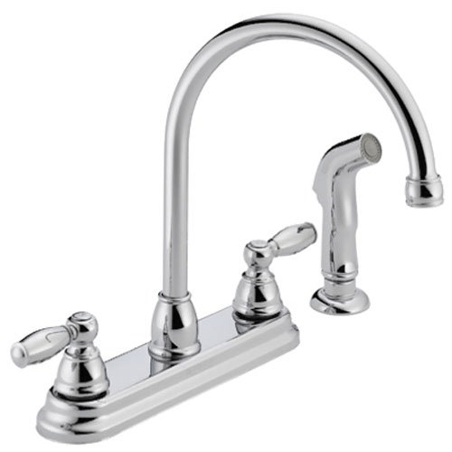delta faucet p299575lf peerless claymore 2 handle kitchen sink faucet with side sprayer chrome