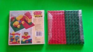 details sur lego duplo 2303 neuf etui de 2 plaques 1 verte 1 rouge 19x19 plaque de base 1991