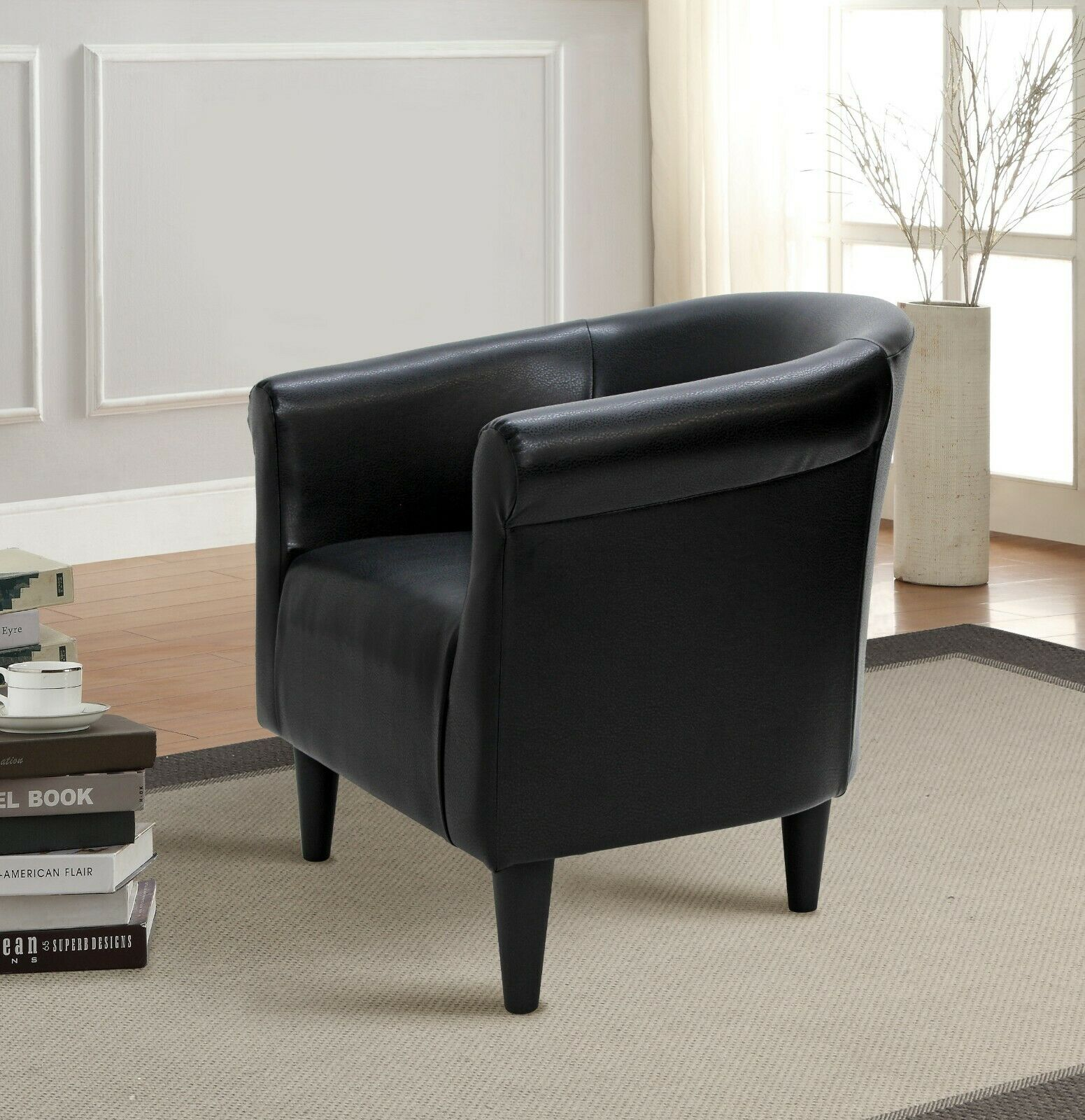 Aurelle Home Rudolph Black Leather Accent Chair Black Modern Contemporary Rus For Sale Online Ebay