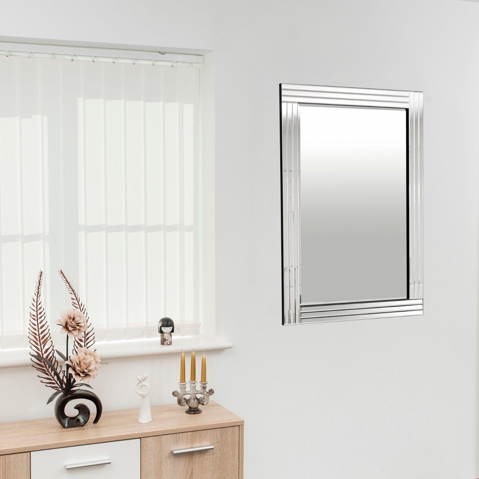 Large Wall Mirror Silver Triple Bevelled Venetian Living