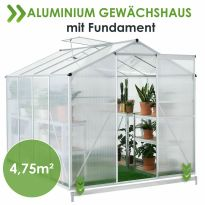 Gewächshaus 4,75m² Treibhaus Pflanzenhaus Fundament Aluminium Frühbeet Juskys®