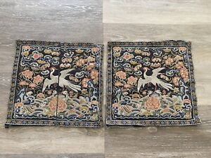 Fine Pair of Antique Chinese Silk Rank Badges Qing Period