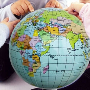 38cm Inflatable World Globe Earth Map Teaching Geography Map Beach     Image is loading 38cm Inflatable World Globe Earth Map Teaching Geography