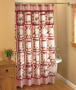 details about inspirational patchwork shower curtain linda spivey country bath decor