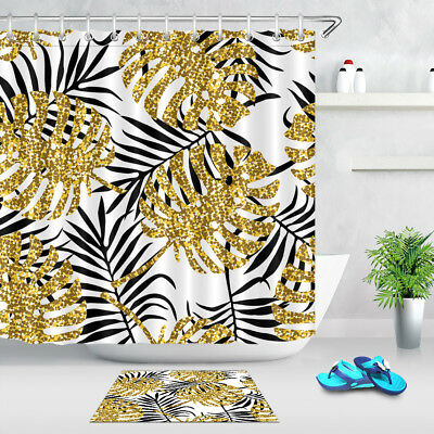 tropical gold leaves black background