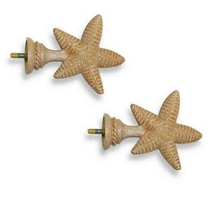 details about starfish finials cambria set of 2 matte for curtain rods beach summer house