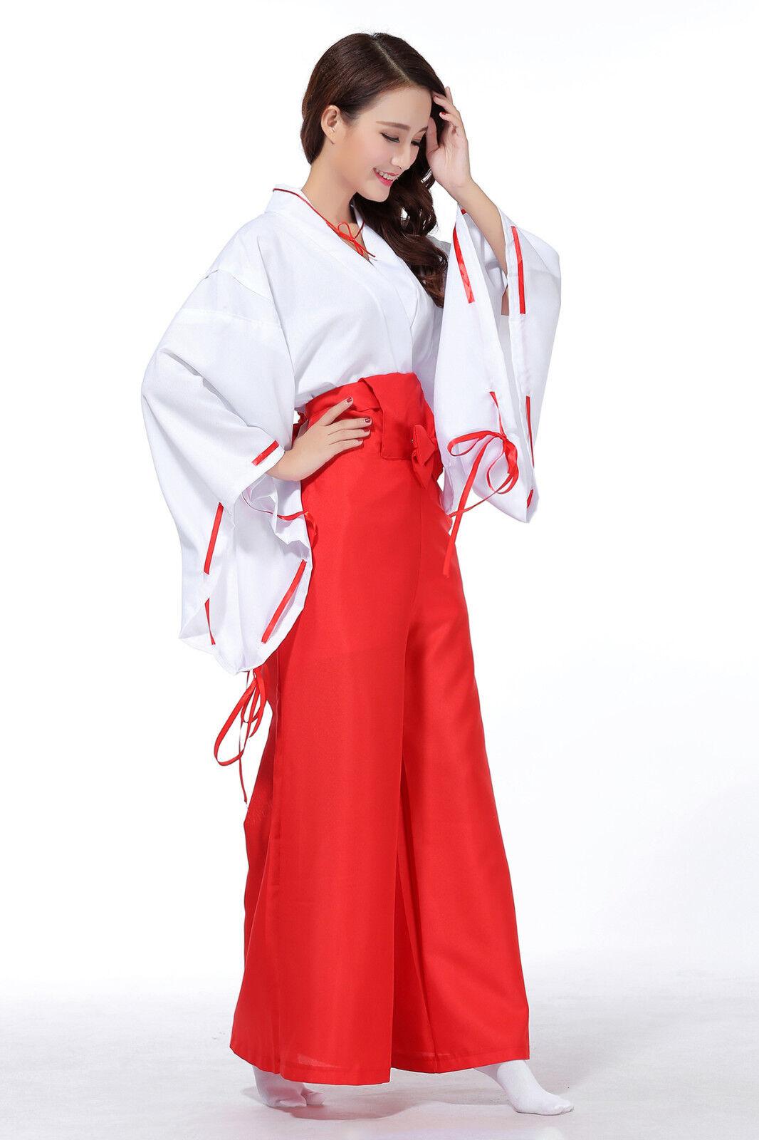 Inuyasha Kikyo Kimono Miko Shrine Maiden Cosplay Women