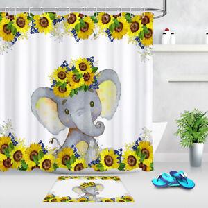 details about baby shower sunflower cute little elephant shower curtain set bathroom decor 72