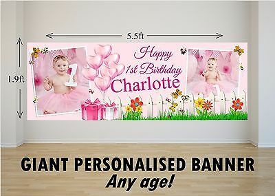 Personalised Giant Large Girls 1st 2nd 3rd 4th 5th Happy Birthday Banner N82 Ebay