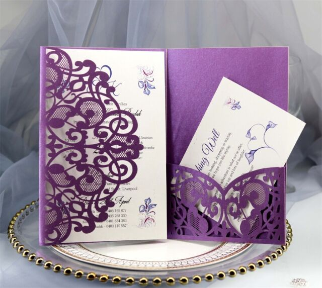 100pcs Wedding Invitation Card Personalized Laser Cut Party Fl Lace