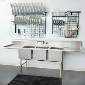 details about 106 3 compartment stainless steel commercial pot and pan sink and 2 drainboards