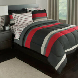details about reversible bed in a bag bedding set red and black twin teen boy bedroom sets