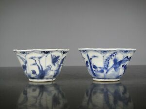 Two Beautiful Chinese Porcelain B/W Kangxi Cups-Landscape