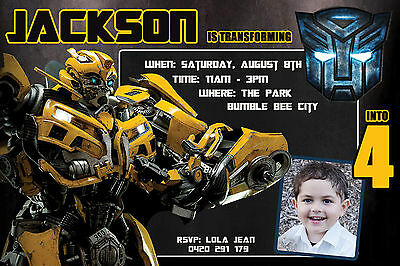 transformers party invitation bumblebee birthday print file transformer ebay