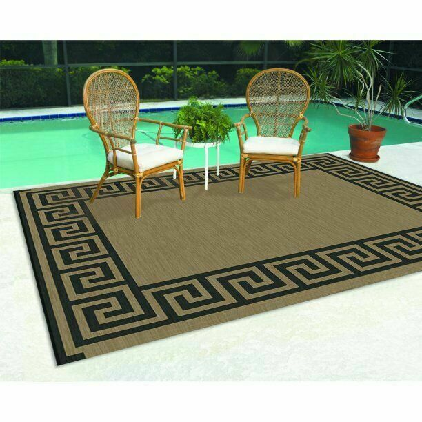patio mats 9 x 12 inch reversible rv indoor outdoor rug camping mat greek key