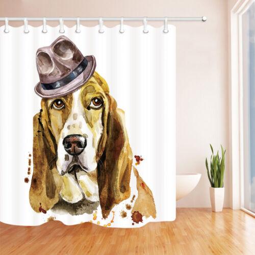 home garden watercolor basset hound dog bathroom fabric shower curtain with hooks 71 bathroom supplies accessories