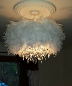 Image Is Loading Large White Feather Chandelier Ceiling Pendant Lampshade 52cm