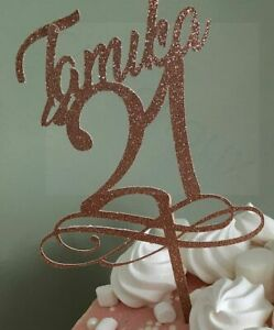 Happy 21st Birthday Personalised Glitter Cake Topper Any Name Word Celebration Ebay
