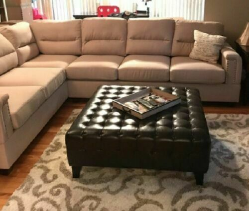 large square ottoman coffee table bonded faux leather tufted brown living room