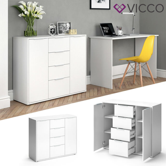vicco buffet novelli commode a tiroirs haut en beton blanc 2 portes chiffonnier