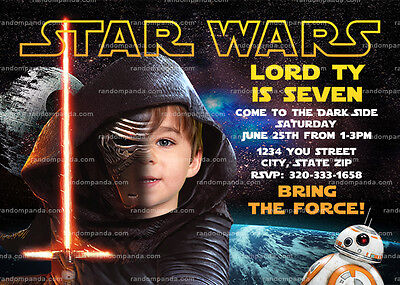 personalize kylo ren invitation star wars party star wars birthday invite ebay