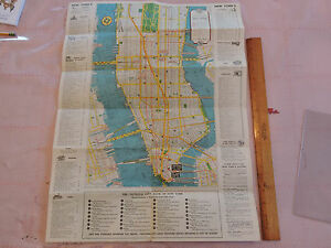 RARE MAP  1950s NYC New York City NYC BROOKLYN   Subway MAP IRT BMT     Image is loading RARE MAP 1950s NYC New York City NYC