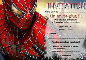 details sur 5 ou 12 cartes invitation anniversaire spiderman ref 265