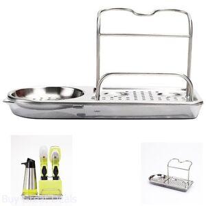 details about kitchen storage stainless steel organizer rack soap sponge holder sink caddy dry