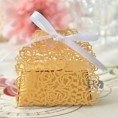 Wedding Cake Boxes collection on eBay  Gold Rose Laser Cut Cake Candy Gift Boxes with Ribbon Wedding Favor Baby  Boxes