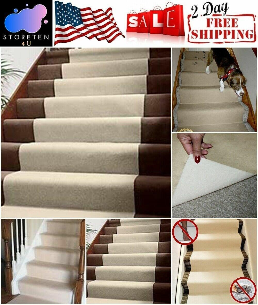Non Slip Carpet Runner Stairs Floor Protector Stair Runner Rug 20 | Carpet Runners For Stairs | Brown | Herringbone | Blue | Design | Wool