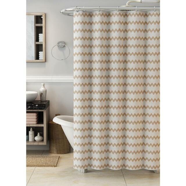 attention metallic chevron shower curtain 100 cotton