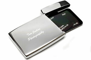 Personalised Flip Top Stainless Steel Executive Business Card Holder     Image is loading Personalised Flip Top Stainless Steel Executive Business  Card
