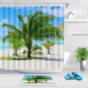 details about tropical sea beach palm tree shower curtain set bathroom mat waterproof fabric
