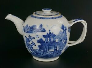 V-LARGE Antique Chinese Blue and White Porcelain Teapot & Lid Cover 18th C QING