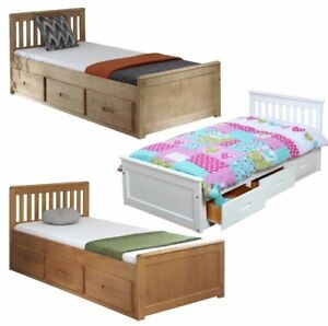 details about kids bed childrens bed storage drawers white wooden pine single mission mattress