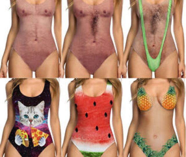 Image Is Loading Women Hot Funny Nake Printed Swimsuit Swimwear One