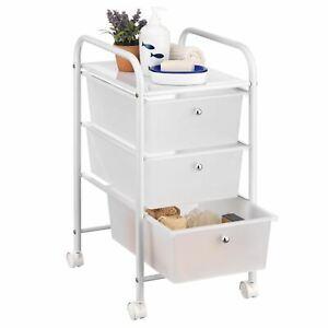 details sur caisson sur roulettes 3 tiroirs plastique meuble de rangement metal laque blanc