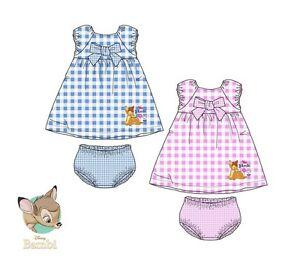 details sur ensemble bebe fille en vichy bambi disney robe bloomer neuf 6 9 12 18 24 mois
