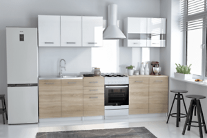 Mb 6 Complete Kitchen Units Set White Lacquered High Gloss And Oak Sonoma 200cm Ebay