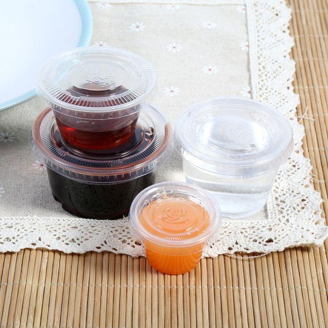 50/100pcs Plastic Sauce Cup Food Storage Container w/ Lids Disposable 1/2/3/4 OZ 2