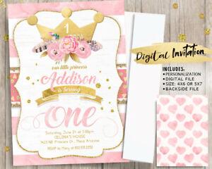 Princess First Birthday Invitations Pink And Gold Boho Girl 1st Birthday Party Ebay