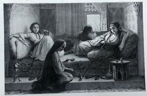 details sur egypte femmes dans un harem du caire au 19eme siecle planche 19eme