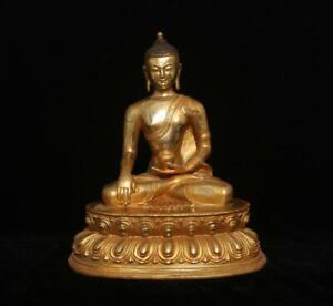 28CM Fine Antique Chinese Bronze Gilding Statue Sakyamuni Buddha