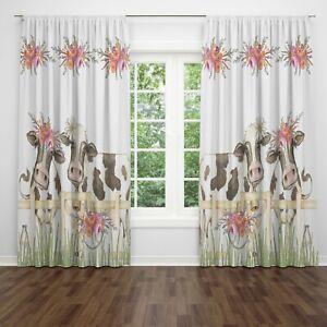 details about farmhouse window curtains floral cow valance country window treatments
