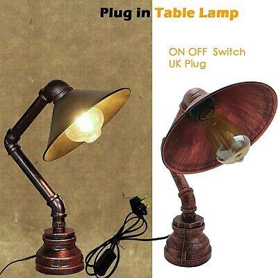 vintage industrial style steampunk steel water pipe desk table lamp table lights ebay