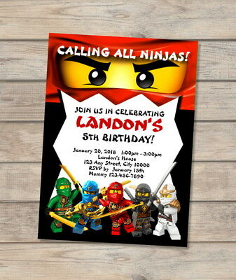 ninjago birthday party invitation custom red ninja lego ninjago wu cru invites ebay