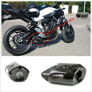 details about for yamaha mt07 14 17 carbon fiber muffler exhaust pipe cover heat shield decor
