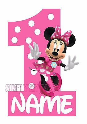 Iron On Transfer Sticker Minnie Mouse Birthday 1st 2nd 3rd T Shirt Trans Ebay